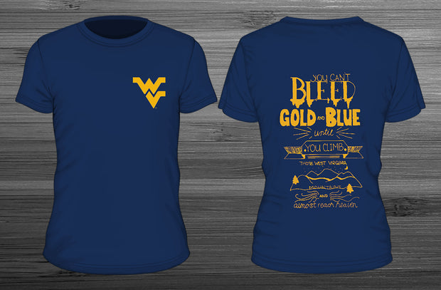 west virginia university bleed gold and blue t-shirt designed by moniesha wright