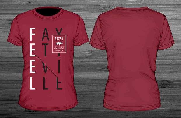 university of arkansas feel fayetteville t-shirt designed by lily hay