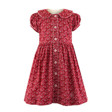 Dark Red/Pink Ditsy Floral Button-Front Dress