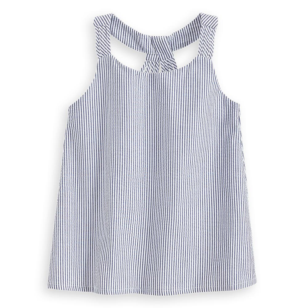 Hutton Blouse- Navy Seersucker Stripe