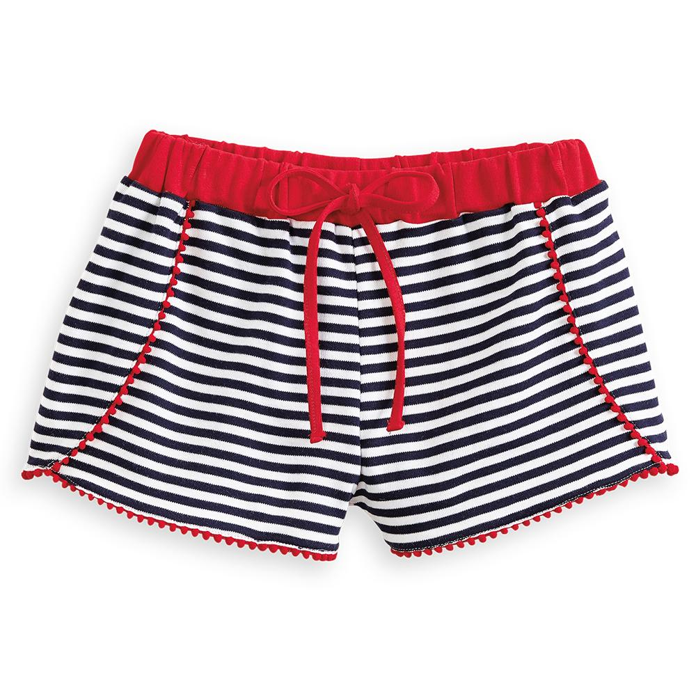 Polly Pima Pom Pom Short- Navy Stripe w/ Red