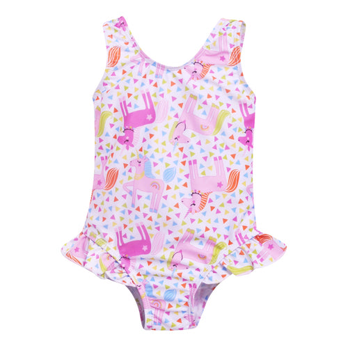 Unicorn Hip Ruffle Tank Swimsuit