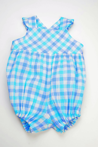 Aqua/Blue Check Ruffle Bubble