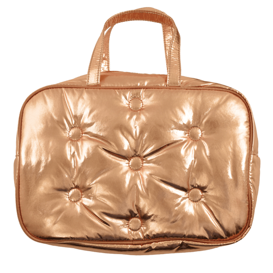Copper Metallic Tufted Large Cosmetic Bag