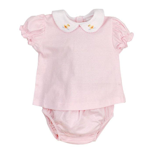 Pink Stripe Duck Diaper Set