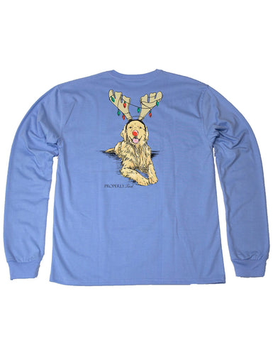 Lil Ducklings Golden Holiday Long Sleeve Light Blue