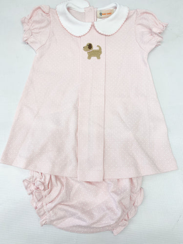 Pink Bitty Dot Puppy Dress & Bloomer Set