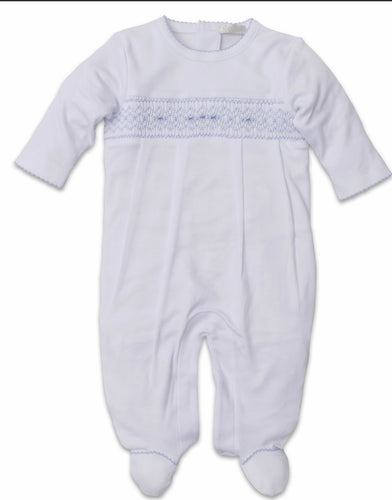 White/Light Blue Footie w Hand Smocking
