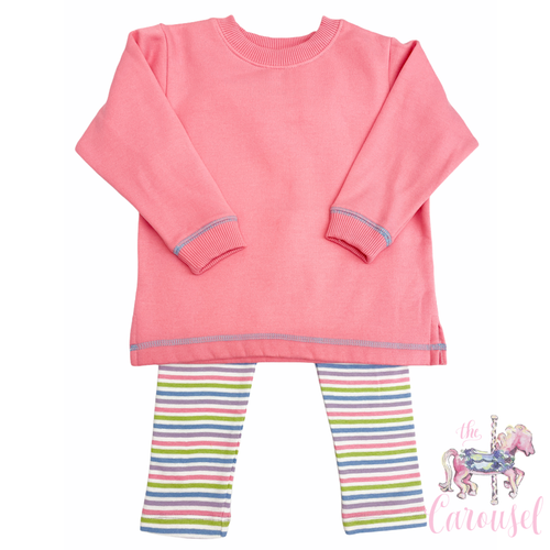 Bubble Gum/Multi Stripe Sweatshirt Set