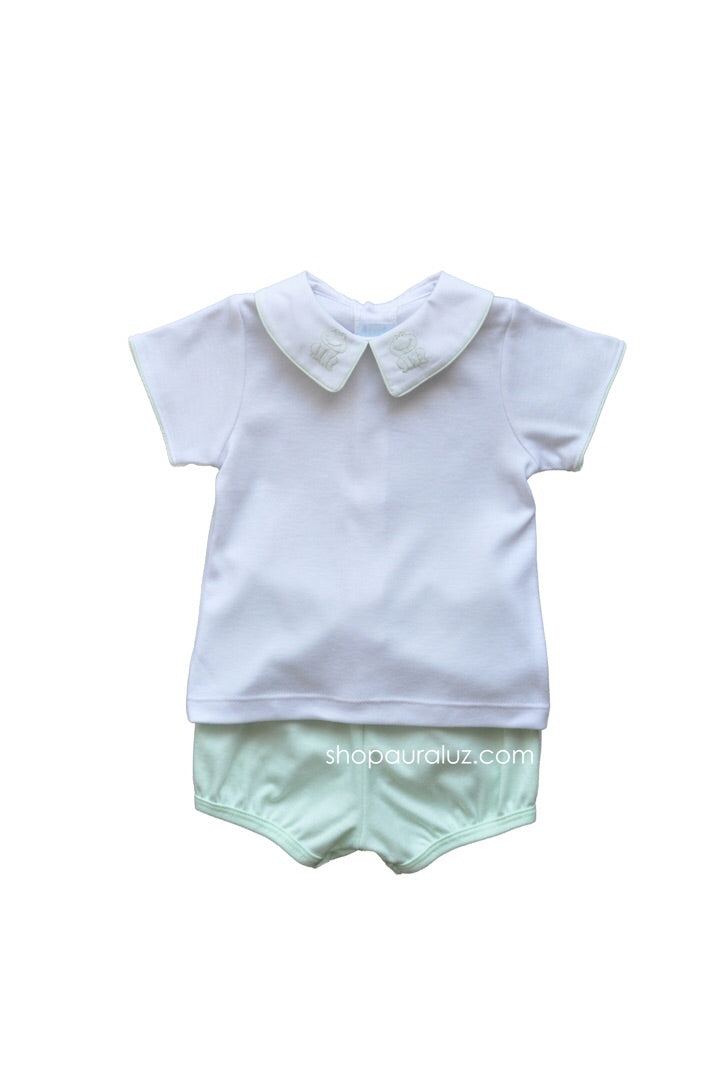 Mint Frog Knit Diaper Set