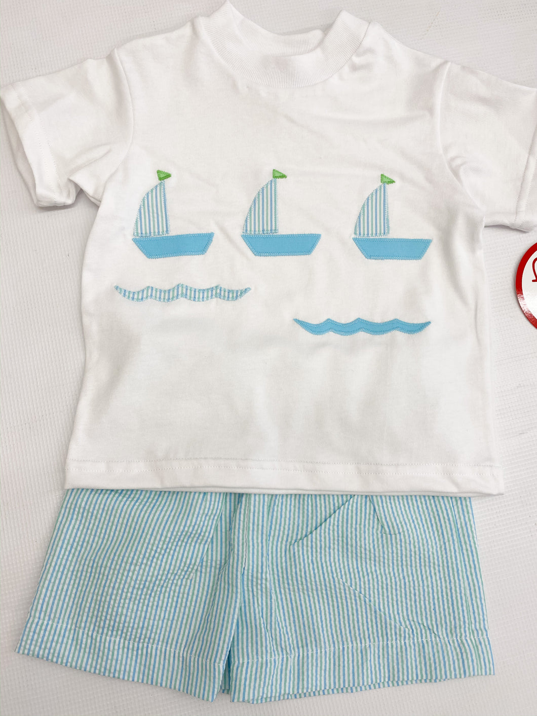 Blue/Green Sailboat Short Set