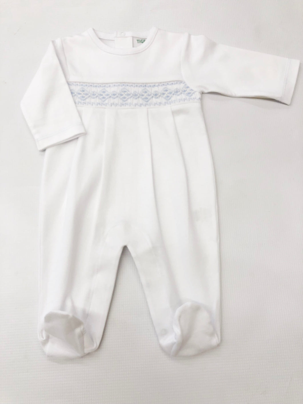Classic Smock White/Blue Footie