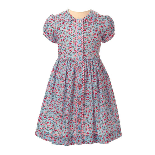 Blue Floral Button Front Dress
