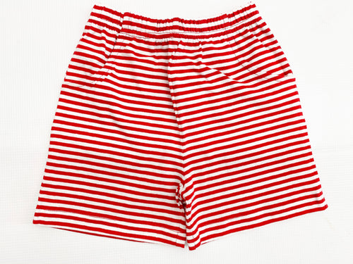 Red/White Stripe Jersey Short w/ Pockets