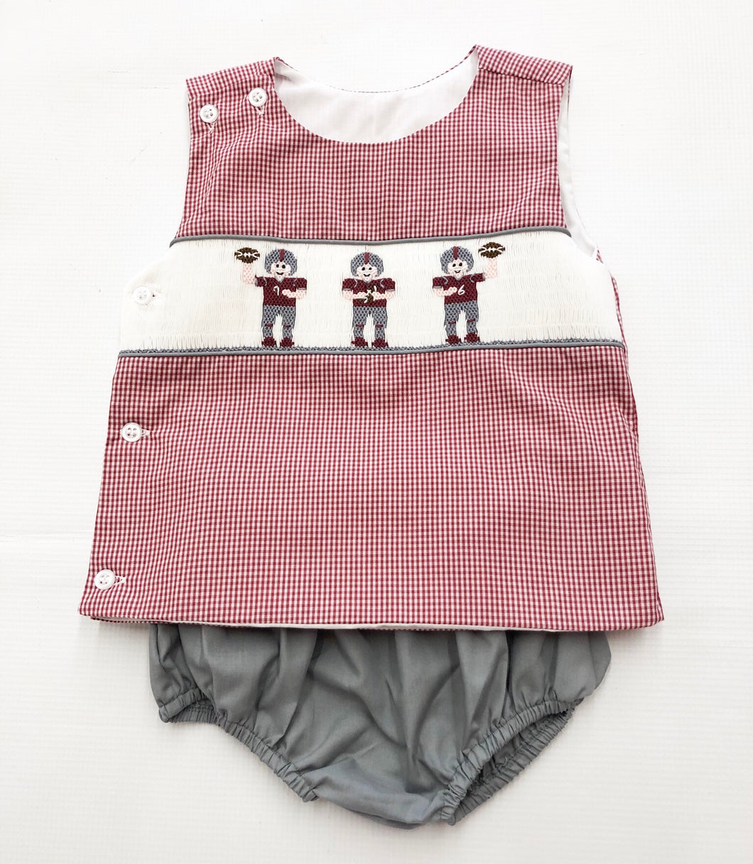 Miss State Smocked Football Diaper Set