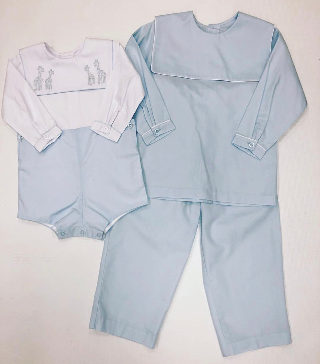 Blue/White Blank Pant Set