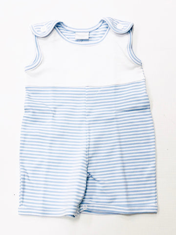 Blue/White Stripe Sunsuit w/ White Yoke