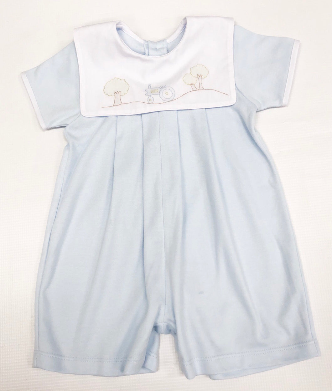 Blue Knit Shortall w/ Tractor Embroidery