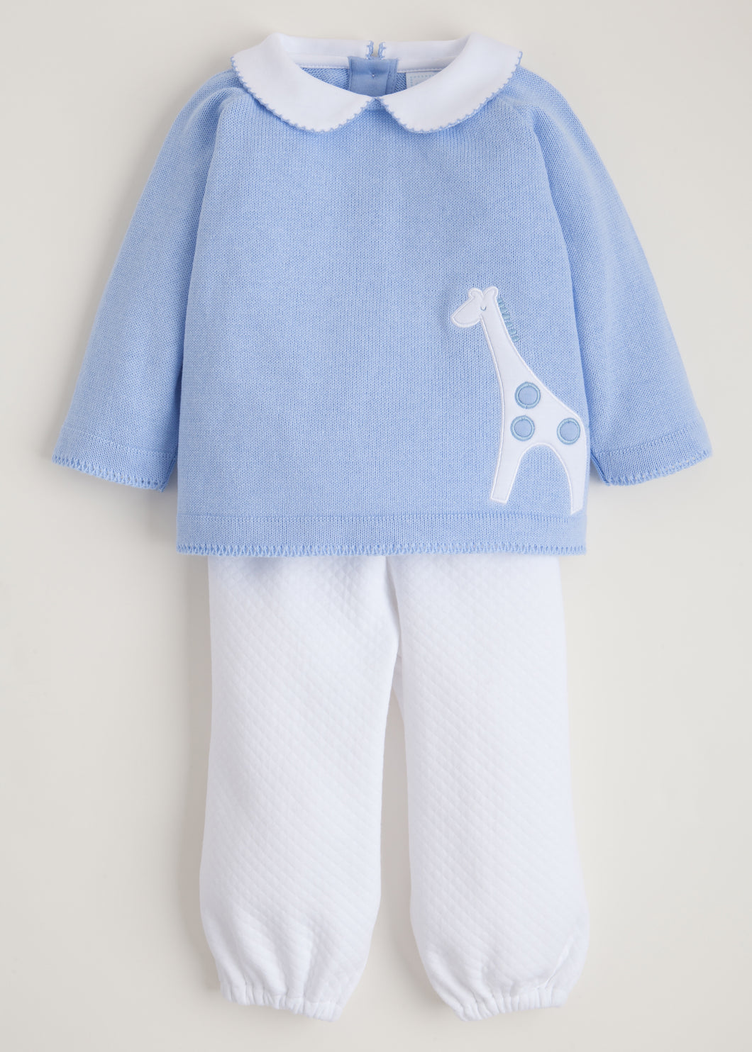Boy Giraffe Quilted Sweater Set