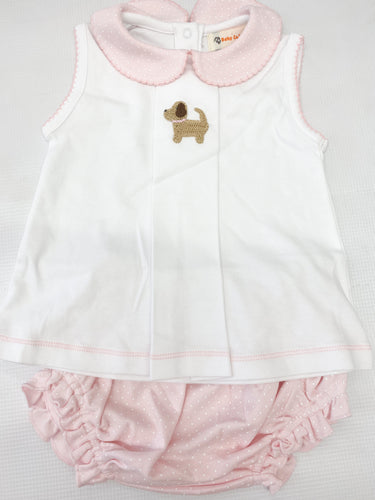 Sleveeless Pink Dot Puppy Bloomer Set