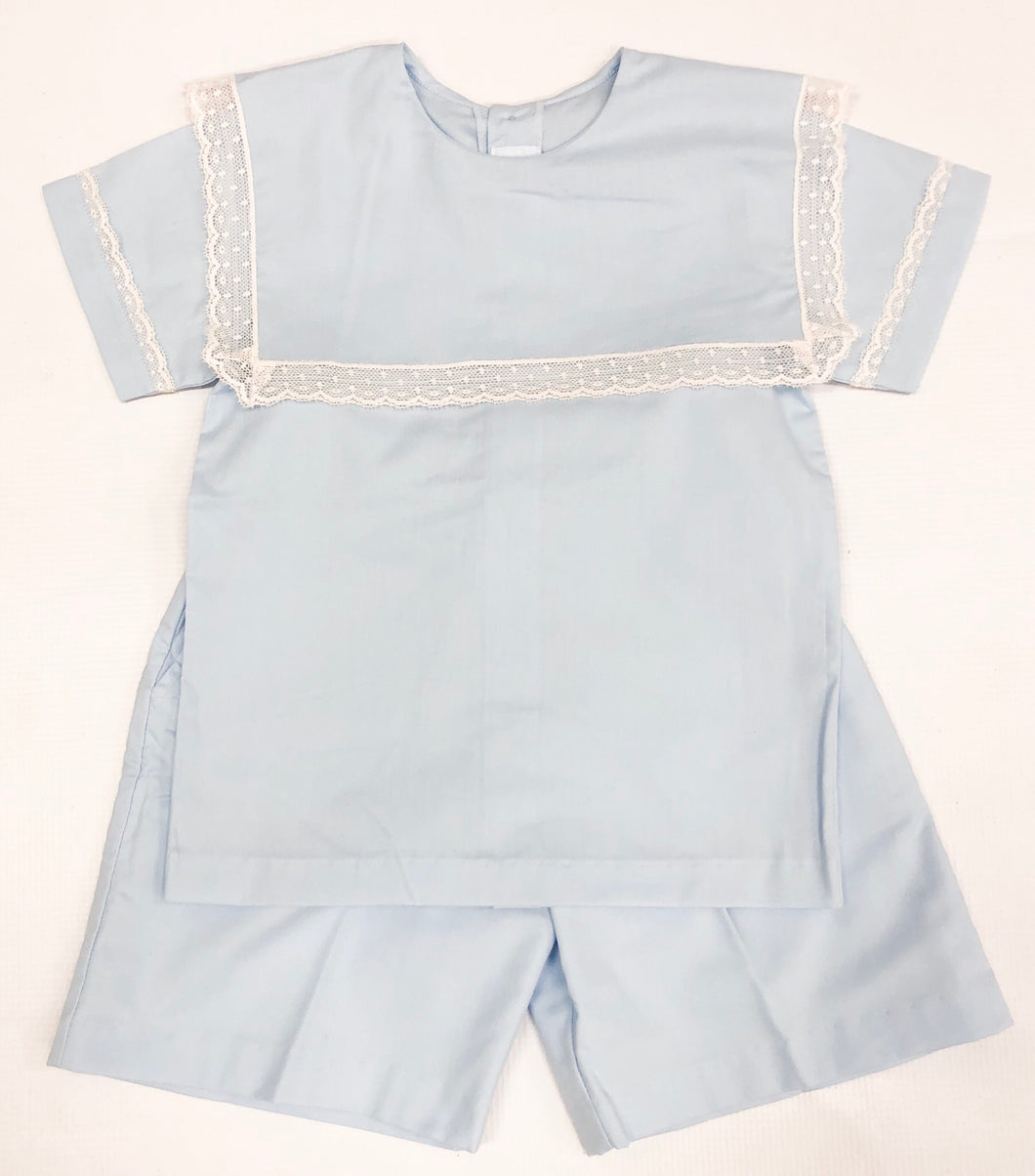Blue w/ Ecru Lace Short Set