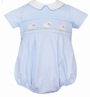 Light Blue w White Dots Lamb Knit Bubble
