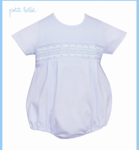 Light Blue Knit Bubble w/ Geometric Smocking