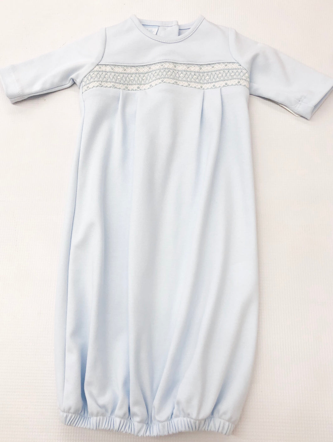 Light Blue Gown w/ Geometric Smocking