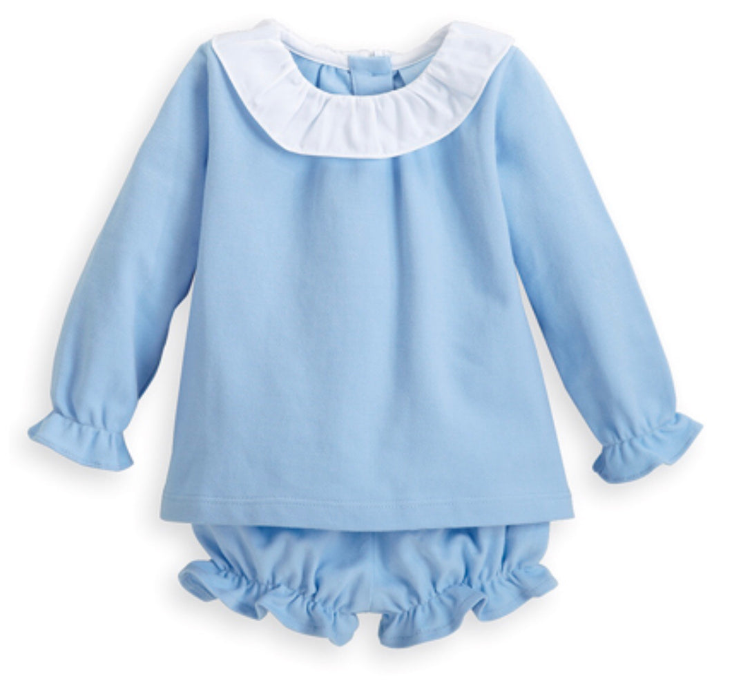 Blue Pique Polly Bloomer Set