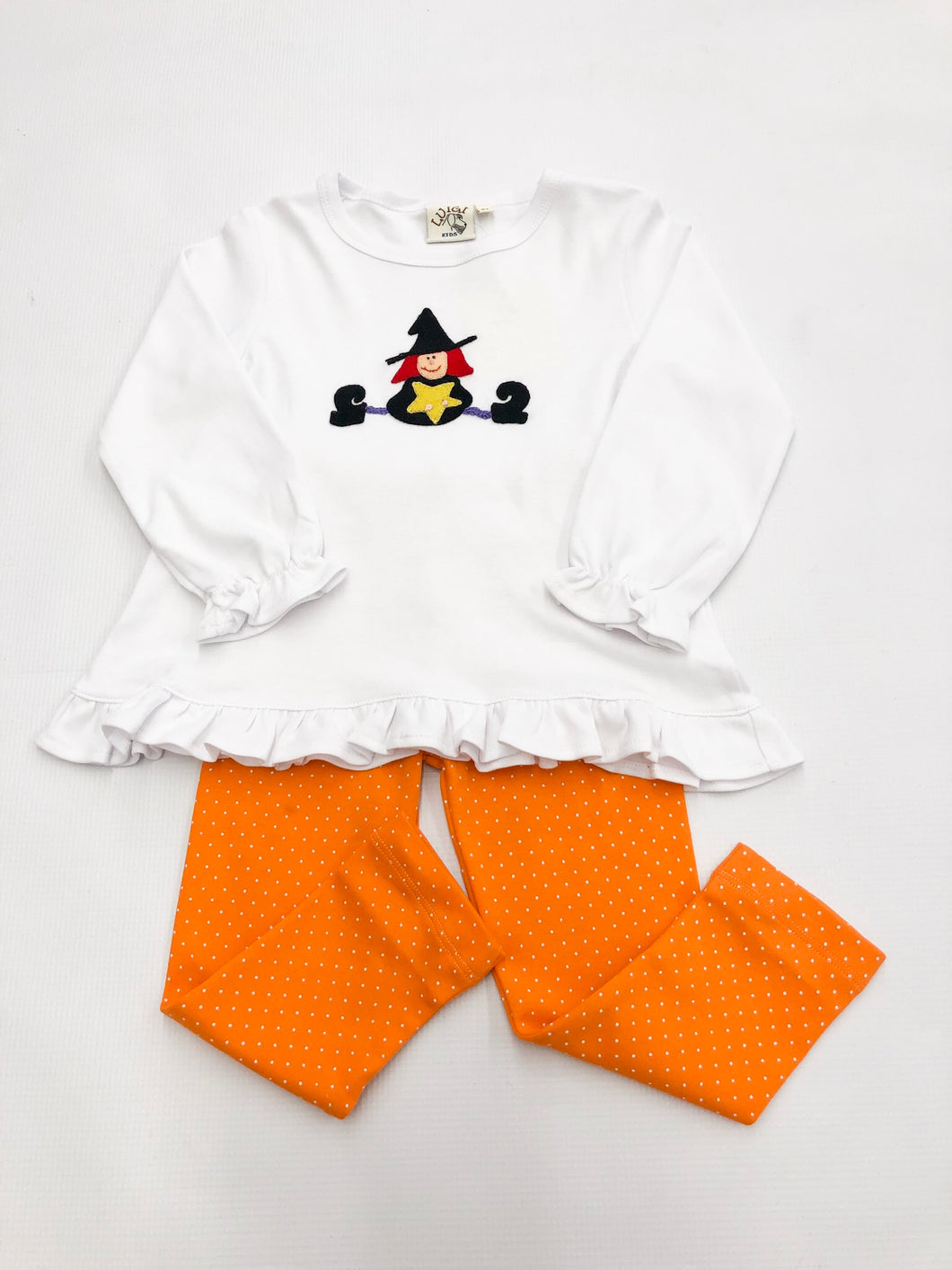 Witch Ruffle Swing-Top w Orange Dot Pant