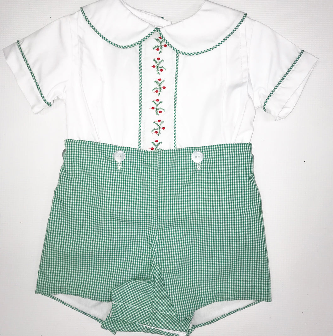Green Gingham Button On Short
