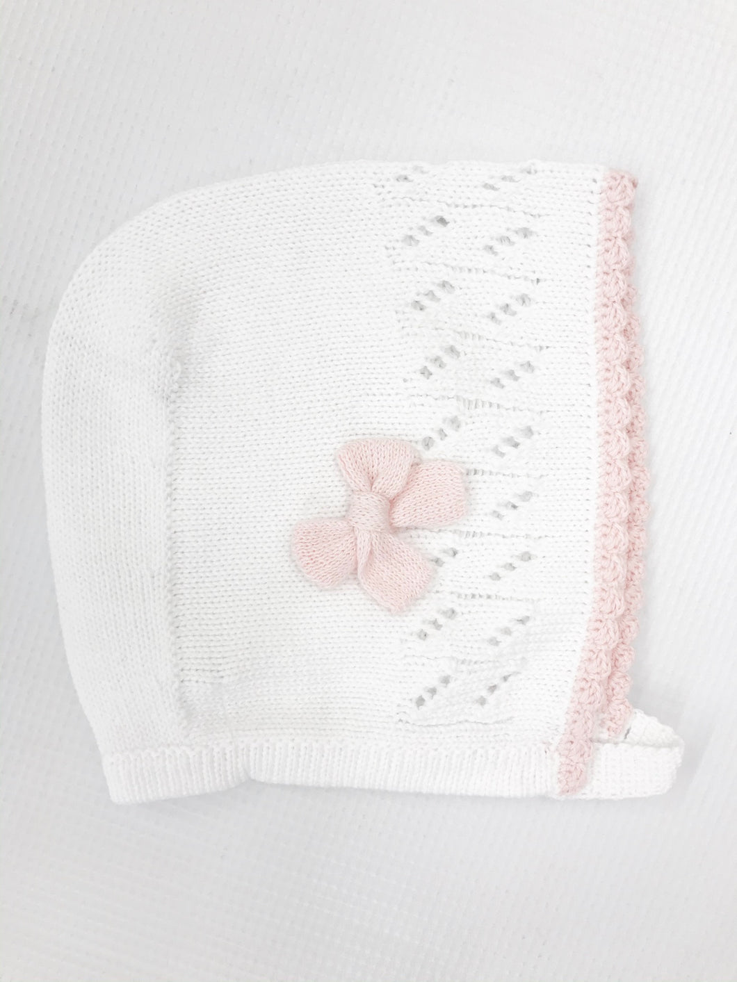 Knitted White/Pink Bonnet