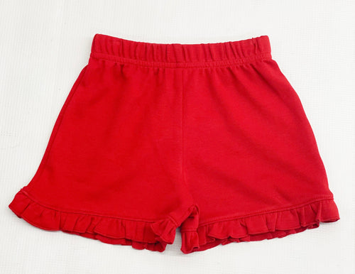 Ruffled Red Knit Shorts