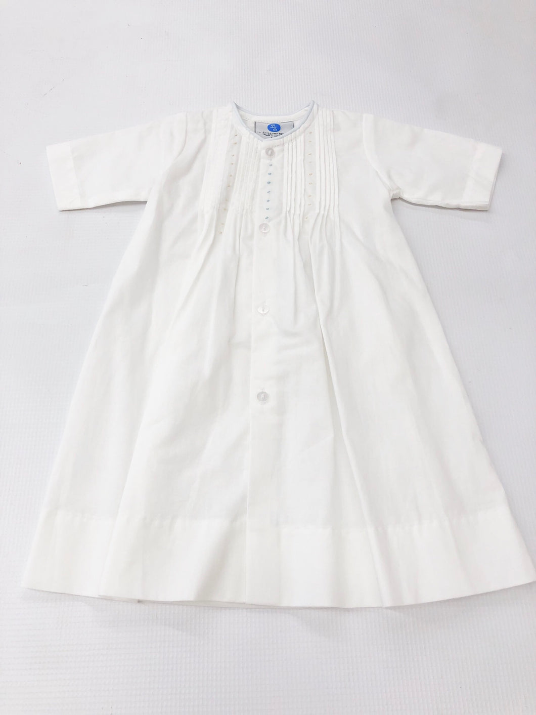 Boy White Pintuck w/ Blue & Ecru Dot Daygown