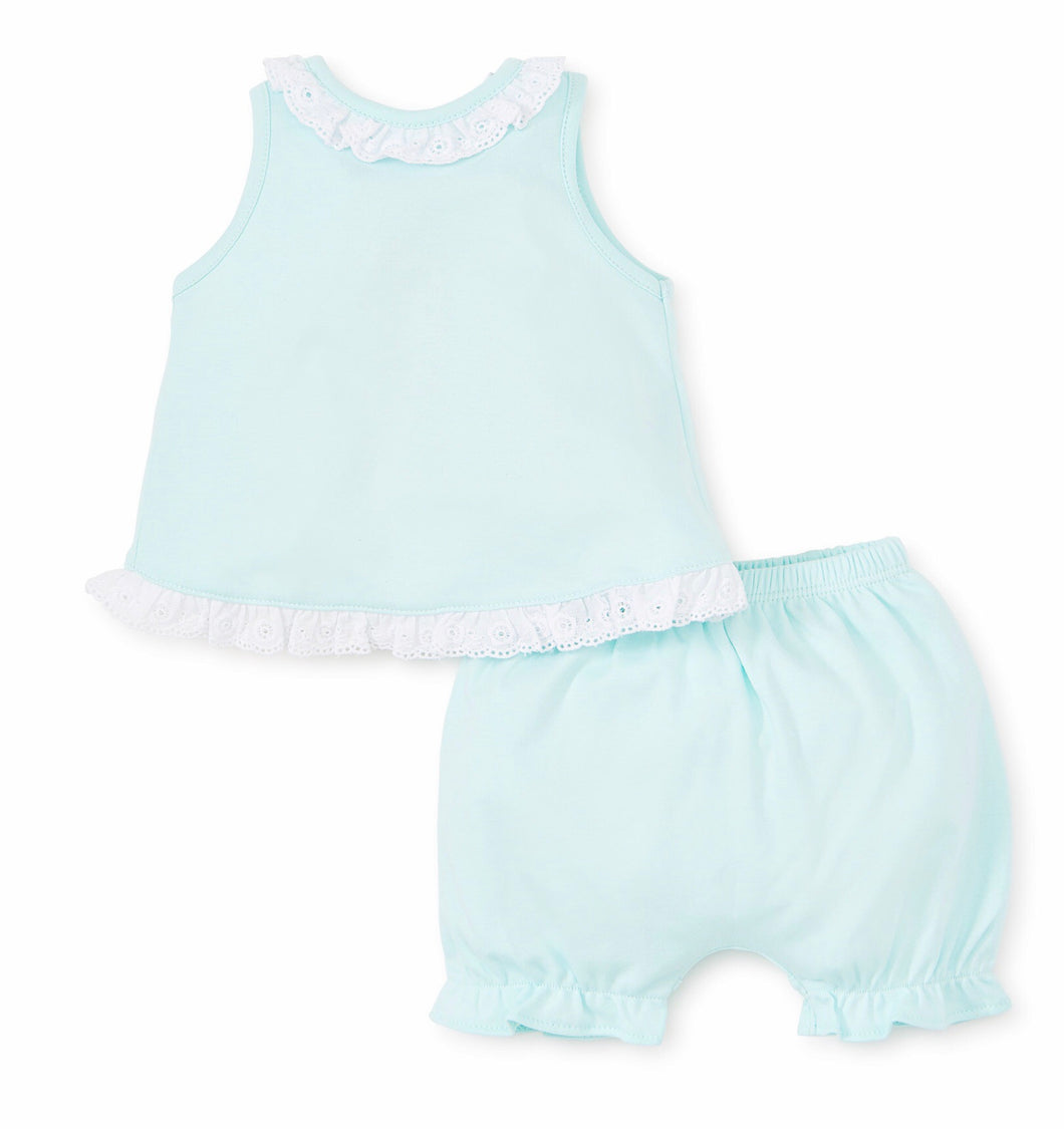 Baby Eyelet Mint Sunsuit Set