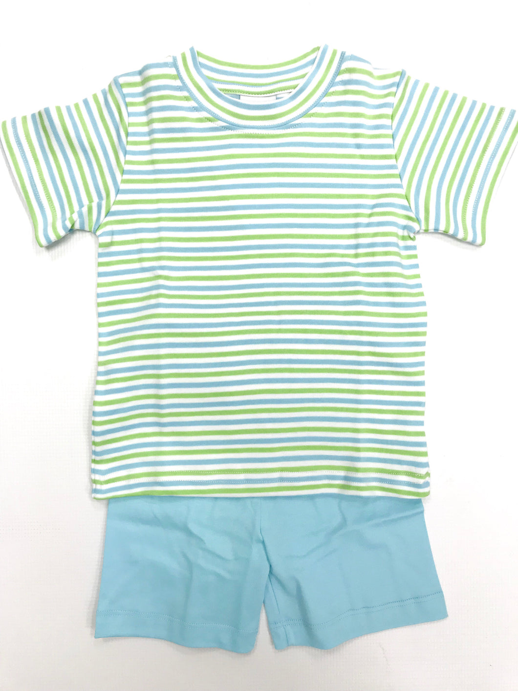 Aqua/Green Stripe Short Set
