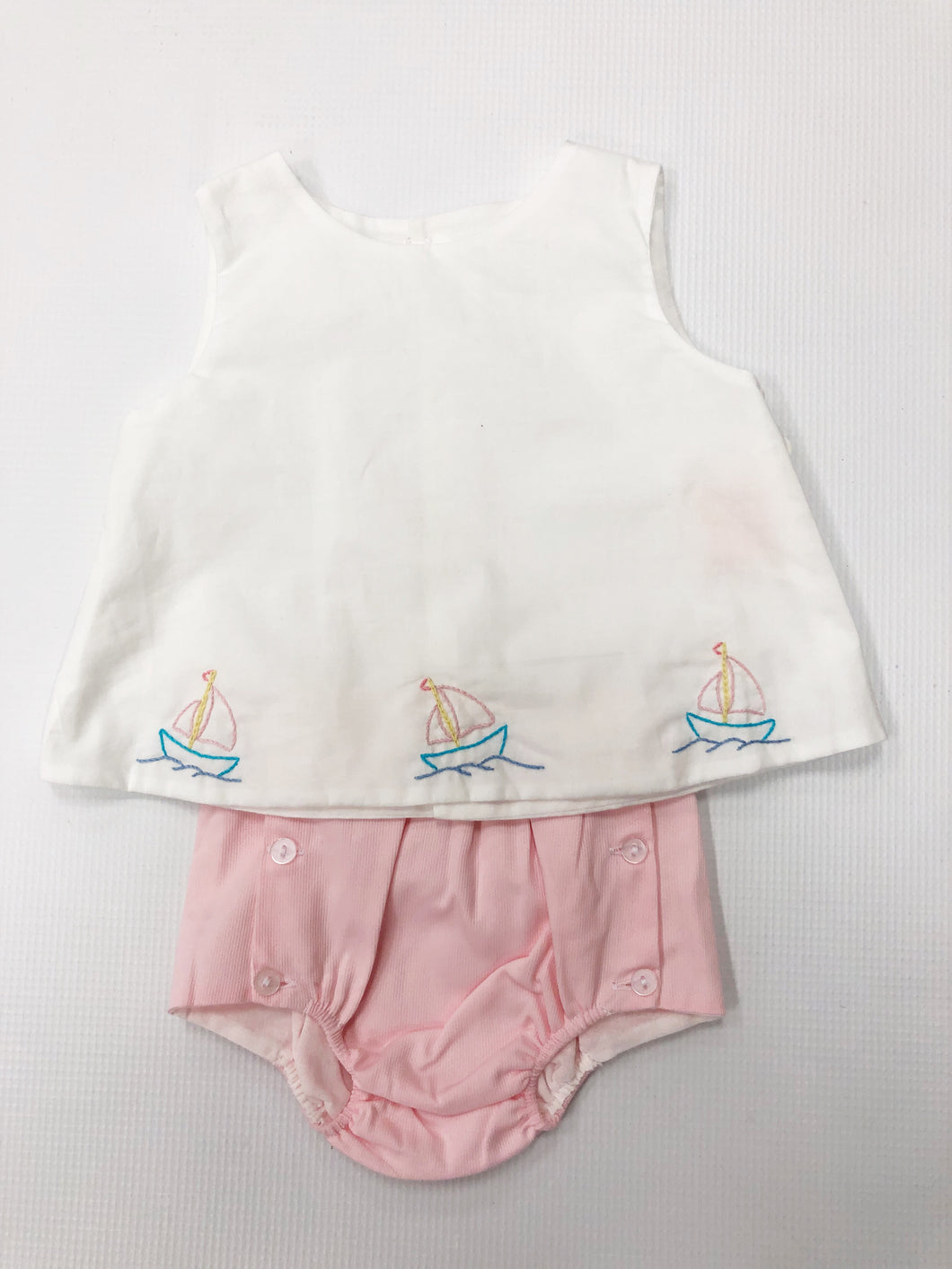 Pink Girl Sailboat Diaper Set
