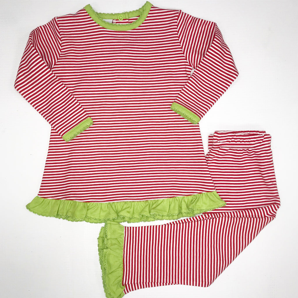 Red/Green Ruffle Pant Set
