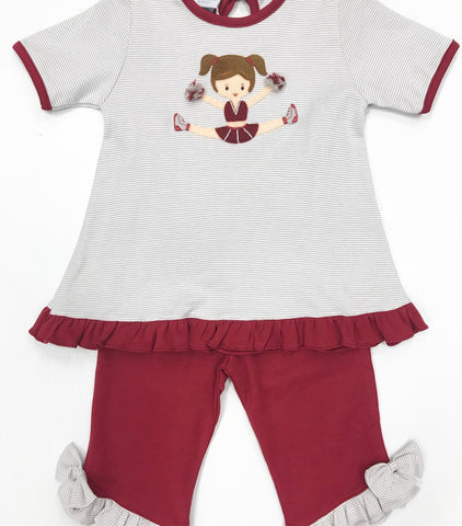 Maroon/Gray Cheerleader Pant Set