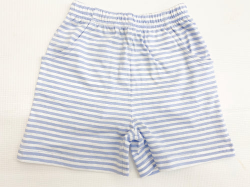 Blue/White Stripe Jersey Short w/ Pockets