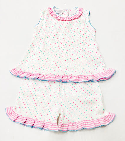 Pink/Mint Dot Squiggles Short Set