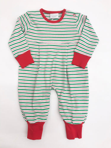 Green/Red Stripe Boy Coverall