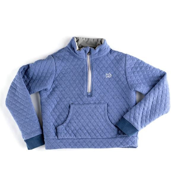 Blue Quilted Pullover