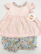 Pink Stripe/Floral Ruffle Bloomer Set