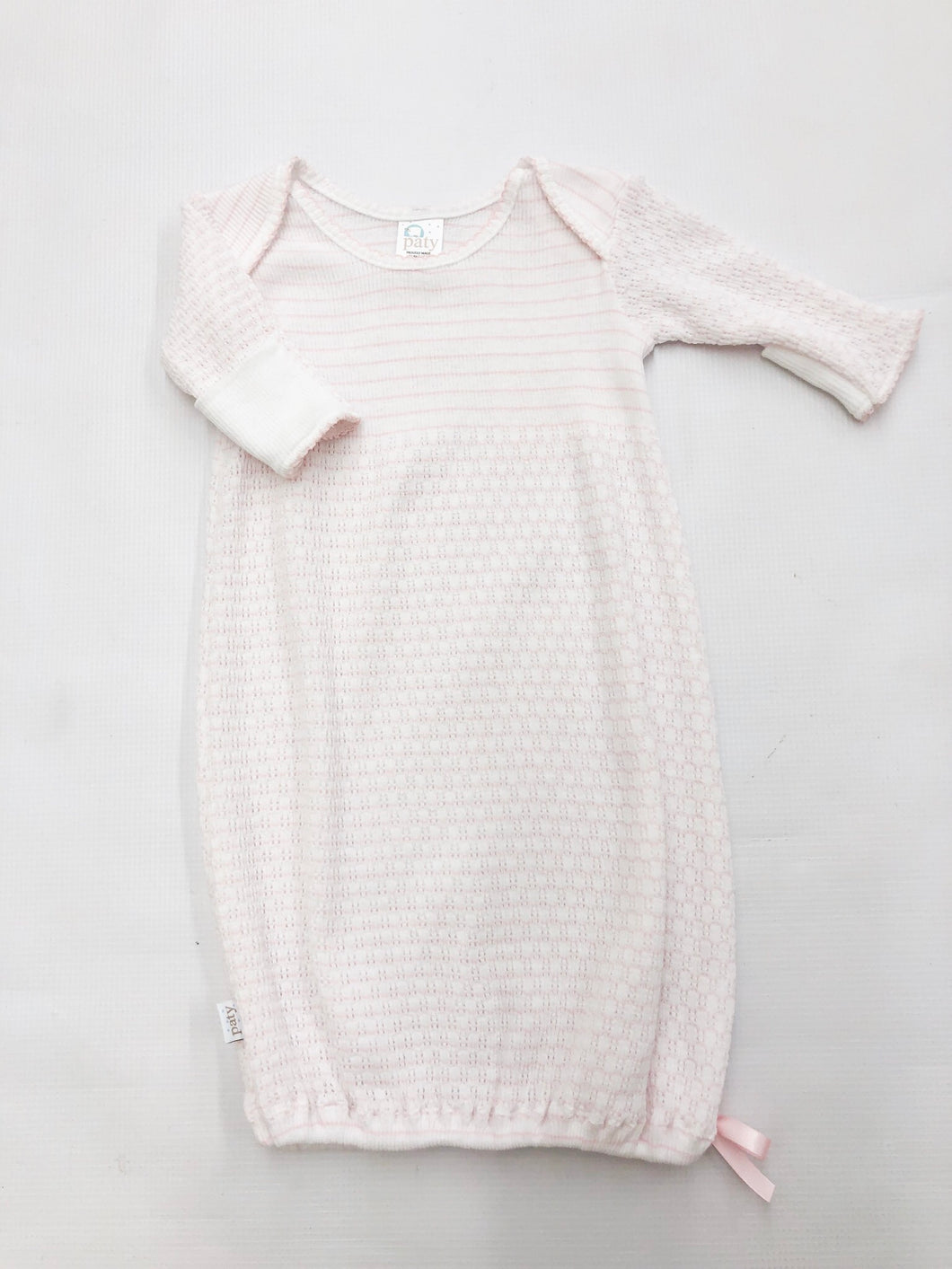 Long Sleeve Lap Shoulder Gown - Pink Stripe