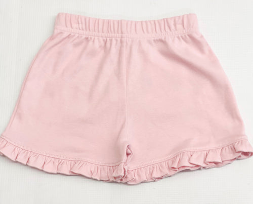 Ruffled Light Pink Knit Shorts