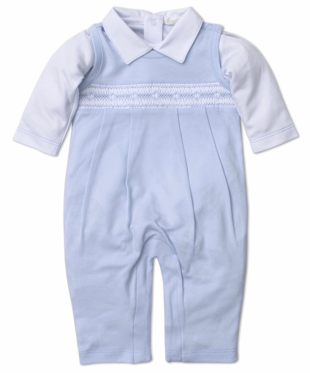 Lt Blue Overall Set w Hand Smocking