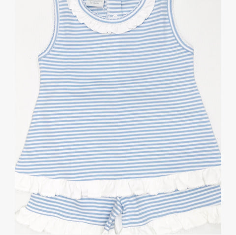 Blue/White Stripe Short Set