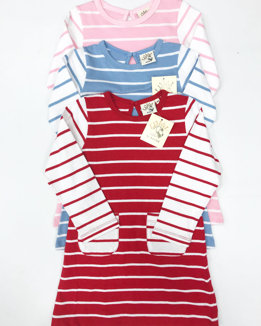 L/S Pink Stripe Dress w/ Pockets
