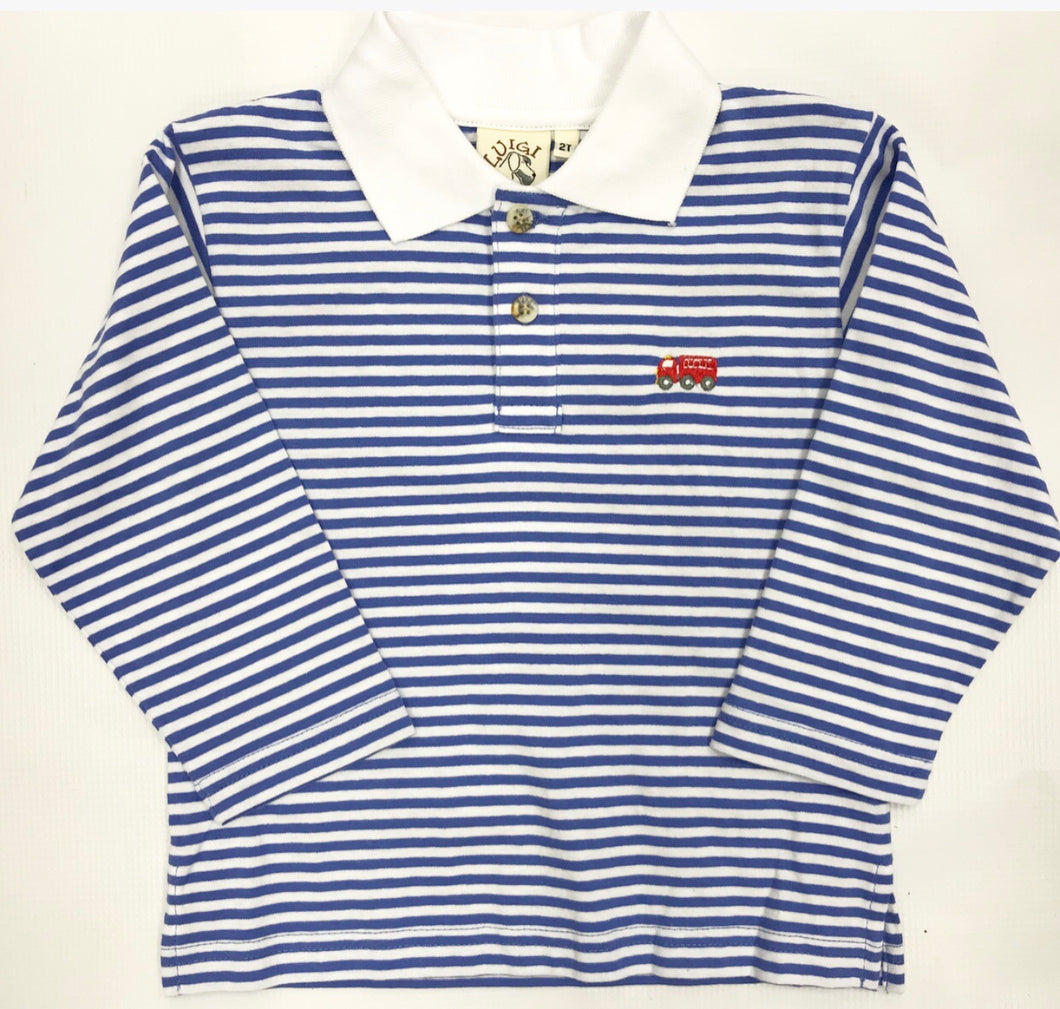 Blue Stripe Polo w/ Embroidered Firetruck